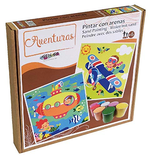 Arenart   Pack 2 Dibujos Aviador y Submarino 30x30cm   para Pintar con Arenas de Colores   Manualidades para Niños   Dibujo Infantil   +6 años