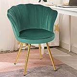 AXQQ Chaises de séjour, Velvet Chair d'accent, Loisirs rétro Confortable rembourré avec Pieds en métal doré pour Chaise à vanité/Chaise à Manger