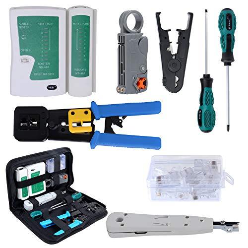 HSEAMALL Juego de herramientas de crimpado RJ45 para RJ11, RJ12, CAT5, CAT6 y Cat5e, kit de herramientas de reparación de cables LAN, conector de crimpado coaxial para cortador de pelacables