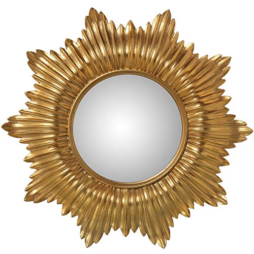 DRW Espejo Resina Redondo Forma Sol Dorado 51x3,3cm