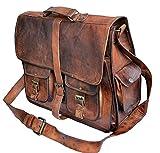 TUZECH Rustic Big Pocket Pure Leather Bag Office Design Perfect Vintage Adjustable Professionals