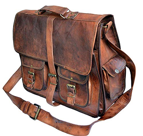 16' leather messenger bag laptop case office briefcase gift for men computer distressed shoulder bag