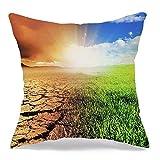 Funda de almohada de lino decorativa Problemas Clima Tierra sin esperanza Calentamiento global Concepto de explosión Temas de la naturaleza al aire libre Resumen Cómodo cojín cuadrado Funda para sofá
