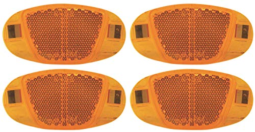 P4B | 4X Speichen Reflektoren | mit Nirosta Klammern | mit starker Reflektionsfunktion und Sichtbarkeit für hohe Sicherheit | StVZO zugelassen | Katzenaugen - Reflektoren | in Orange