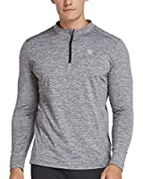 BALEAF Men's 1/4 Zip Pullover Thermal Running Shirts Long Sleeve Fleece Linning Heather Gray L