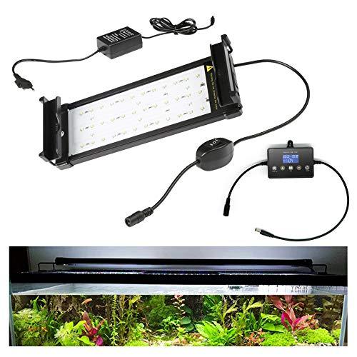 wolketon 7.5W LED Aquarium Beleuchtung Universal mit LED Aquarium Timer, Aquarium Lampe LED Pflanze mit LED Lichtmodulator,für Reef Coral Fish Wasserpflanzen Aufsetzleuchte