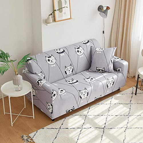 Bankovertrek, elastisch, rekbaar, bankovertrek, elastisch, dubbele bank, anti-slip, stofbescherming, grijs 3 _ 145 - 185 cm