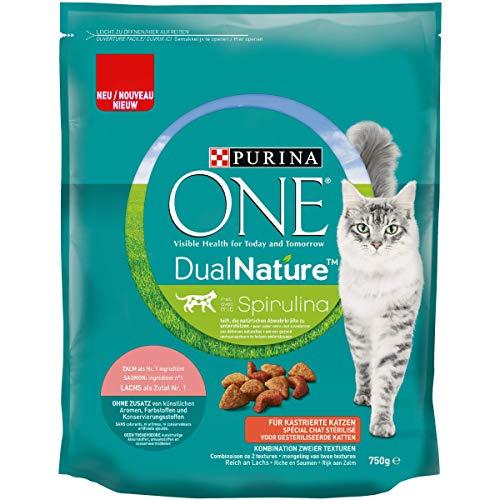 ONE DUAL NATURE für kastrierte Katzen Lachs mit Spirulina KatzentrockenfutterBeutel, 750 g