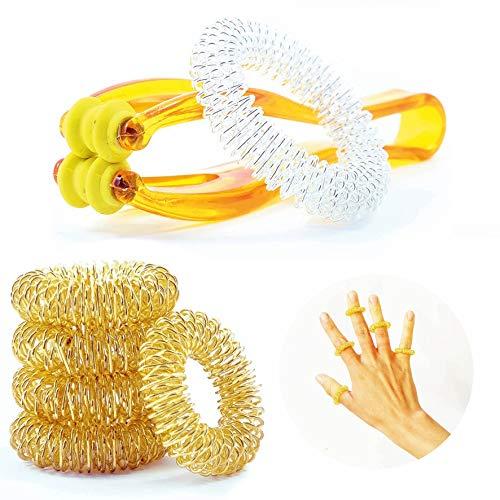 TATTVA Handmassage Set Premium [3-Anwendungen] -2020- Finger Massage Ring | Massageringe Handgelenk | EXTRA Handmassage Tool | Akupressur und Meridian Massage !