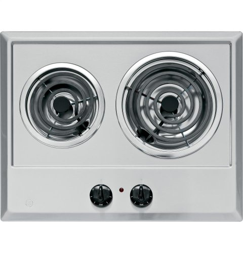 "Ge JP201CBSS Built-In Electric Cooktop, 2-Burner, Stainless Steel, 21.25 X 16.62 X 3"", 13 Lbs., 3"" x 16.62"" x 21.25"""