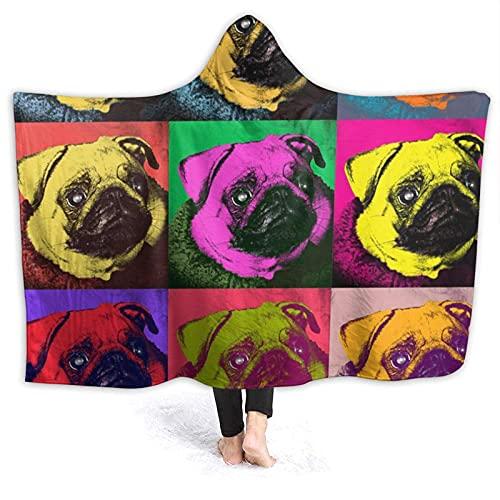 Coperta con cappuccio – Cani Pop Art Pug Fleece con cappuccio coperta avvolgente, super morbido caldo coperte 150 cm x 150 cm