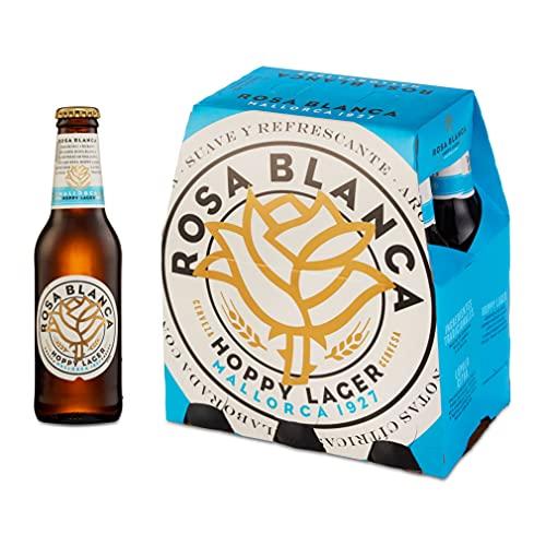 Cerveza Rosa Blanca, Pack de 6 Botellas 25cl | Hoppy Lager, Suave, Refrescante, Cerveza Lupulada, Aroma Intenso, Lúpulo Citra, Afrutada, Matices Cítricos, Fundada en Mallorca en 1927, en Lata
