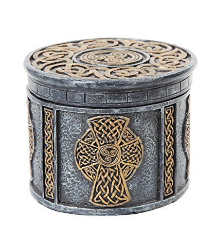 PTC 4.13 Inch Engraved Celtic Cross Circular Jewelry/Trinket Box Figurine