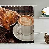 N\A Duschvorhang Essen Kaffee Getränke Tasse Frühstück wasserdichte Badeinlagen Haken enthalten - Badezimmer Dekorative Ideen Polyester Stoff Zubehör