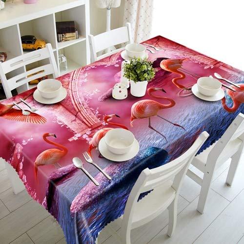 XXDD Mantel de Familia de flamencos 3D Feliz Navidad Amantes del Cisne Mantel Rectangular Impermeable para Boda A2 140x140cm