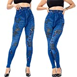 jieGorge Pantalones de Mezclilla, Leggings de Vaquero de imitación Casual para Mujer, Cuentas de Alta Elasticidad, sartén Recortada Delgada, Pantalones de Mujer, Azul de Venta X-Large