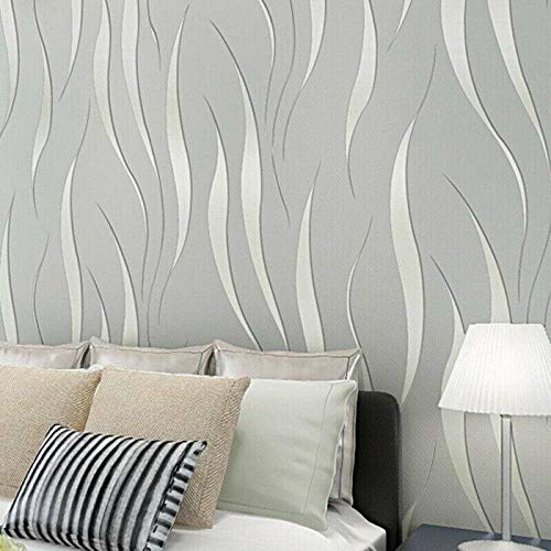 XIUNPR-6 Modern Eenvoudig Zilver Wave Streep reliëf Wallpaper voor Slaapkamer Woonkamer Muren Keuken Kasten Backsplash Planken Dressoir Lade Windows DIY