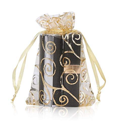 Biggroup 100 stuks gouden Organza tassen, sieradenzakje zak met trekkoord & bronspatroon voor chocolade, snoep, koekje als geschenkverpakking, 15x20cm