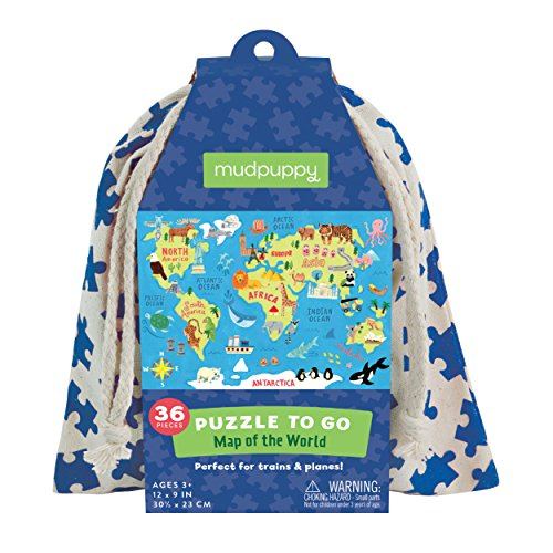"Product Image of the Mudpuppy Map of the World Puzzle To Go, 36 Pieces, 12""x9"" – Kids Ages 3+ -..."