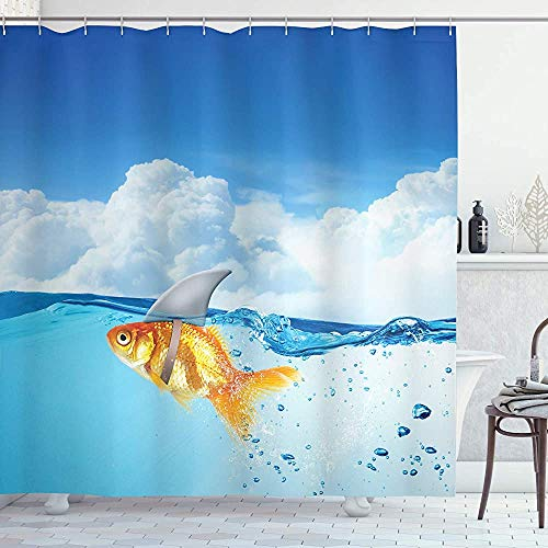 ASDAH haai douchegordijn goudvis met haai vin op de top van de waternep komische humoristische natuur afbeelding doek stof badkamer decor set met haken blauw oranje 66 * 72in
