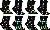gigando Pack 8 Paar hochwertige schwarze Socken aus Baumwolle mit modernen bunten Motiven, Punkte, Streifen, Formen, Bausteine-Socken mit weichem B&, ohne Naht an den Zehen, 35-38
