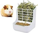 sxbest Alimentador de heno 2 en 1 para cobayas, comedero de conejo, alimentador de heno interior para cobayas, conejo, chinchilla, comedero uso para hierba y alimentos (blanco)
