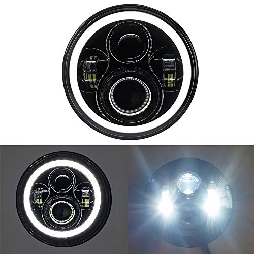 7 inch LED Headlight DOT with White Halo DRL Headlamp fit for Harley Davidson Touring Ultra Classic Electra Street Glide FatBoy Heritage Softail Slim Deluxe Switchback Road King Yamaha Motorcycle