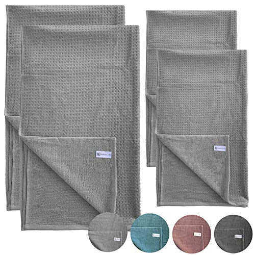 HOMELEVEL Handtuch Set 2X Frottee Duschtücher + 2X Handtücher Hellgrau 100% Baumwolle Piquee Look