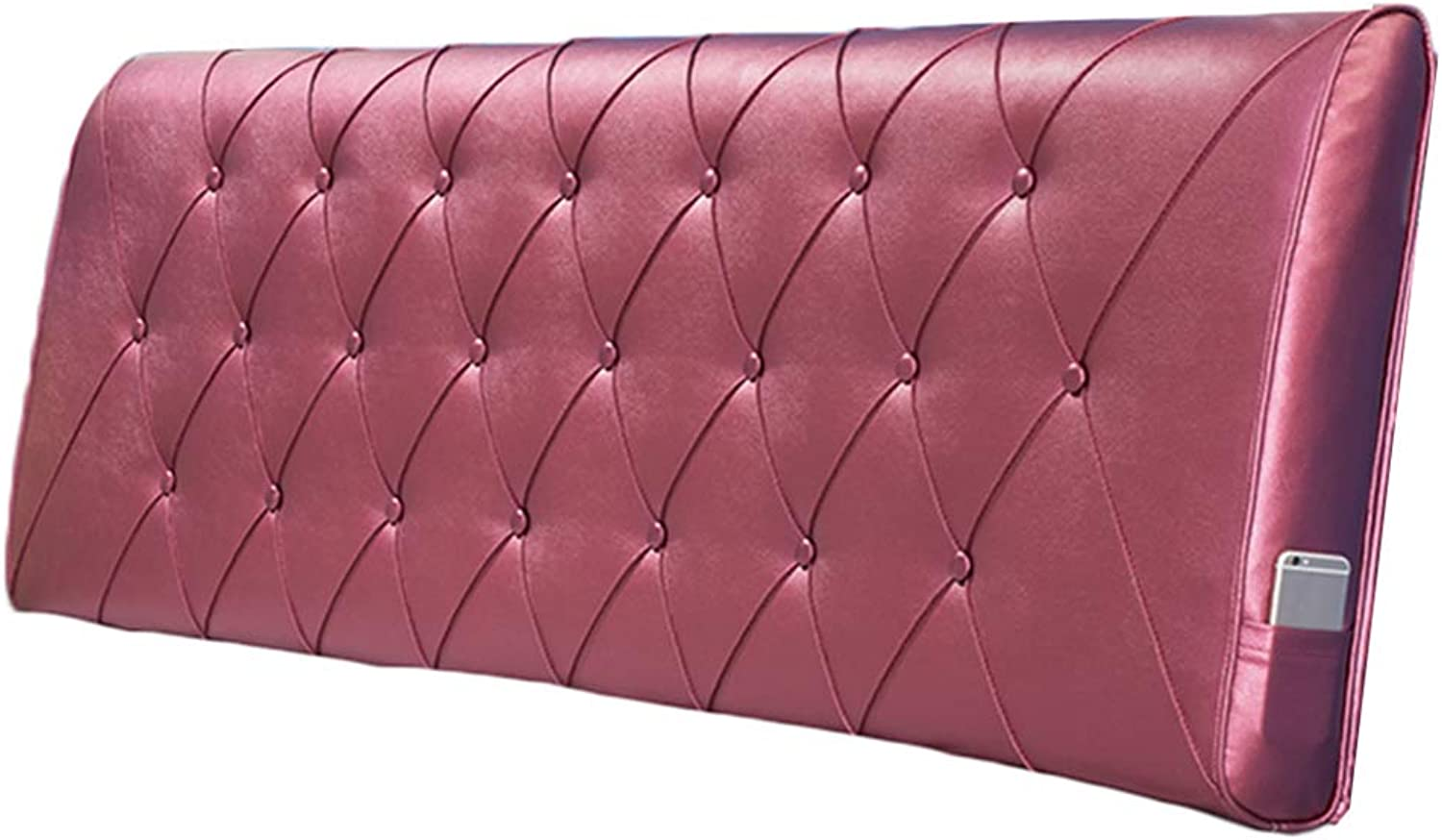 WENZHE Upholstered Fabric Headboard Bedside Cushion Pads Cover Bed Wedges Backrest Waist Pad PU Soft Case Home Backrest Simple Fashion, 6 colors (color   F, Size   90x60x11cm)