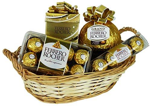 Cesta de Navidad con Ferrero Rocher (4 piezas)