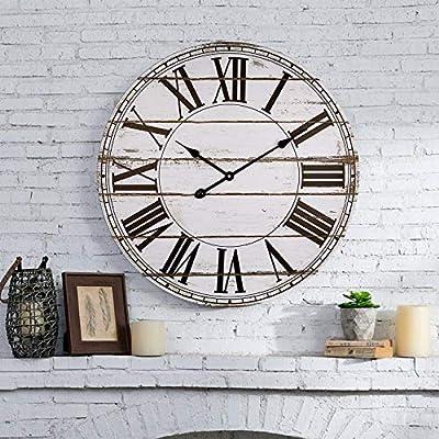 BEW Large Wall Clock, Vintage Distressed Shiplap Decorative Roman Wall Clocks, Silent Wooden Farmhouse Clock for Living Room, Dining Room, Bedroom, Den, Shelf (24-Inch, White)