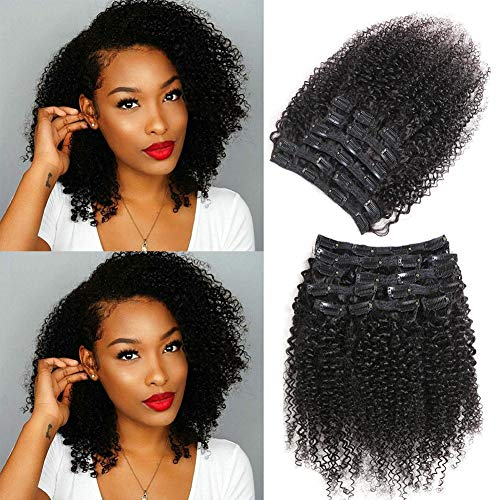 Urbeauty Afro Kinky Curly Clip in Human Hair Extensions for Black Women 10' Short Curly African...