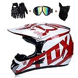 Motocross Guantes Motocicleta para Adultos Gafas Rojo Blanco m/áscara de 4 Piezas Set S Casco de Motocicleta de Cara Completa 55~56CM