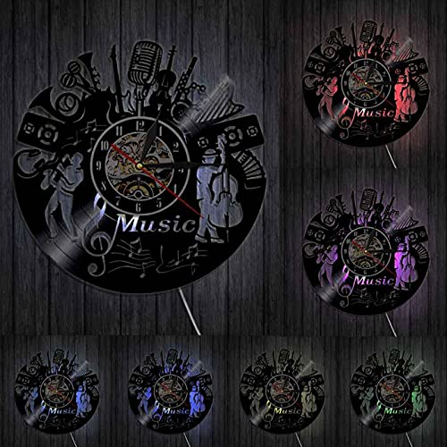 hxjie Reloj de Pared de Vinilo 3D, Pulsera Musical, Personalidad, Disco, diseño Moderno, Art Deco con LED