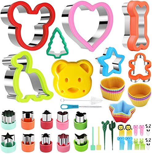 Mgee Cookie Cutters 43 stykker Sandwichbrød Toast Cutter Rustfritt stål Cookie Cutter for Kids, Mickey / Dog Bone / Dinosaur / Star / Heart (43pcs)