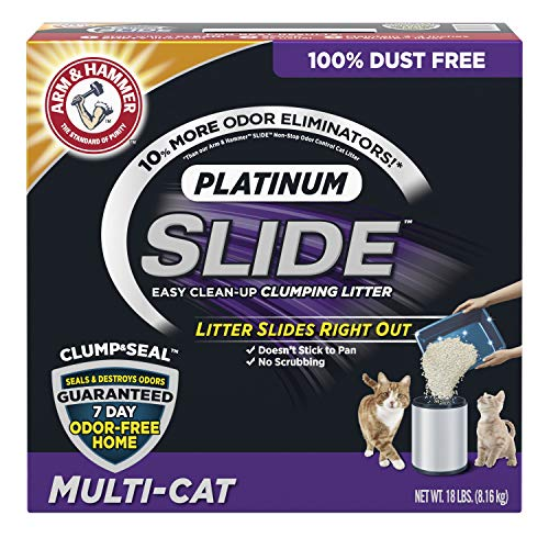 Arm & Hammer Platinum Slide Easy Clean-Up Clumping Cat Litter, Multi-Cat, 18 lbs (033200975168)