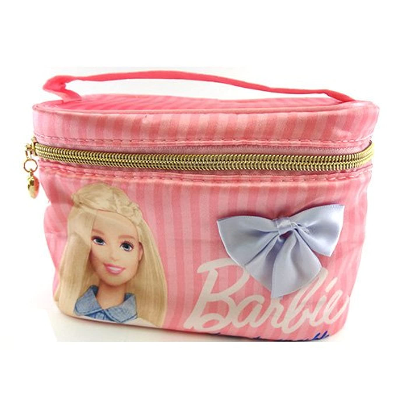 ライター叫ぶ潜むバービー Barbie サテン バニティポーチ ライトピンク 11665【Barbie ポーチ メイク ピンク 化粧】