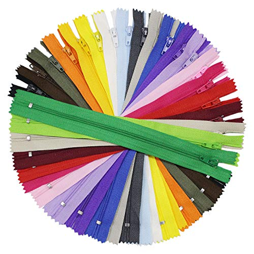 100 Pieces Nylon Coil Zippers, 9 Inch Colorful Sewing Zippers Supplies for Tailor Sewing Crafts, 20 Assorted Colors