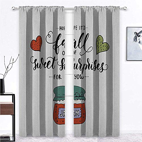 """Window Curtain Panel Light Reducing Curtains Hand Drawn Jam in a Jar Brush Lettering with Romantic Hearts Hope is Sweet Surprises Farmhouse Curtains for Living Room 2 Rod Pocket Panels, 52""""W x 63""""L"""