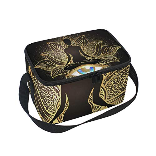NASEN Lotus Buddha Lunch Bag Insulated Cooler Lunchbox Tote Office Work Picnic Hiking Beach Lunch Bags Adult Women Men Kids