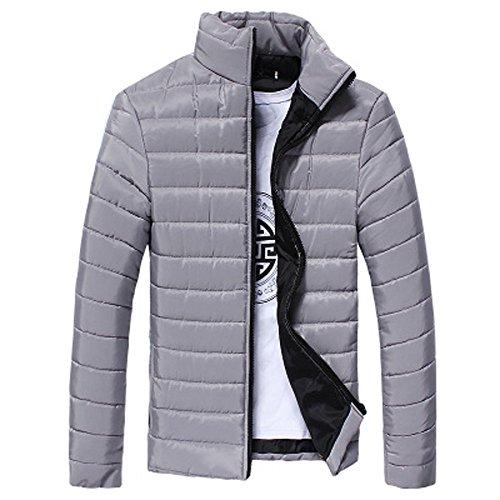 Strungten Herren Casual Daunenjacke Baumwollmantel Männer Winter Freizeit Reißverschluss Tasche Steppjacken Stehkragen Mantel Outwear Tops Zipper Warme Winter Dicker Mantel Jacke
