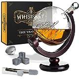 Whisiskey® Whisky Karaffe - Globus - Whiskey Karaffe Set - 900 ml - Geschenke für Männer - Inkl. 4 Whisky Steine & Ausgieße