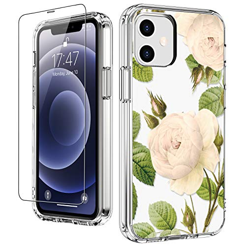 """LUHOURI for iPhone 12 Case,iPhone 12 Pro Case with Screen Protector,Floral Flower Garden Designs on Crystal Clear Cover for Women Girls,Protective Phone Case for iPhone 12/12 Pro 6.1"""""""