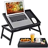 Bed Tray Table Breakfast Food Tray with Folding Legs Kitchen Serving Tray for Lap Desks Notebook Computer Bed Platters TV Snack Tray (Black)