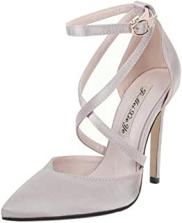KTYXDE Women's High Heel Sandals Summer New Pointed Cross Buckle with Thin High Heel Shoes Wedding Shoes 35-40 Yards Women's Shoes (Color : Apricot, Size : 39)