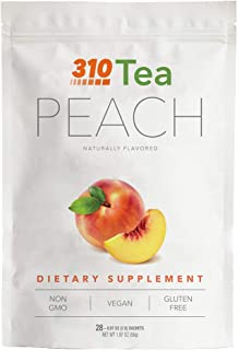 Peach Tea by 310 Nutrition - Supports Body's Natural Detox Process, Organic Green Tea with Yerba Mate, Guarana, Plus More Natural Ingredients, Comes with Free eBook (28 Servings)