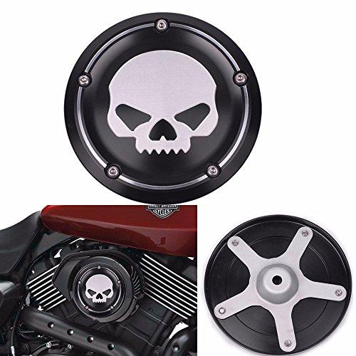 Frenshion Kompatibel für Skull Abdeckung Luftfilter Schwarz Motorrad Deep Cut CNC Abdeckung Aluminium Dekorative Zubehör für Harley Street XG500 750 2015 2016