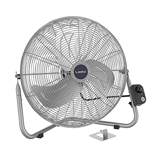 Lasko 20″ High Velocity QuickMount, Easily Converts from a Floor Wall Fan, Silver 2265QM