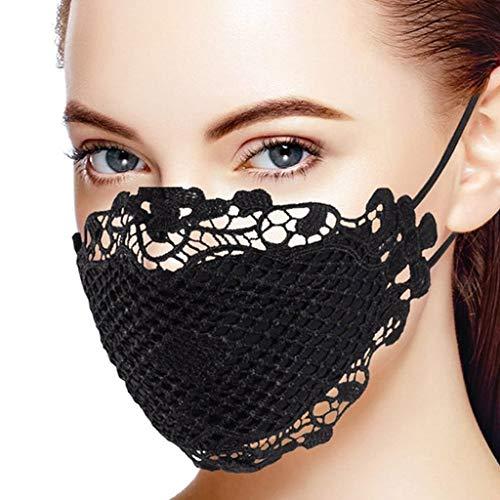 riou Damen Spitze Mund und Nasenschutz Waschbar Elegant Atmungsaktive Multifunktionstuch Halstuch