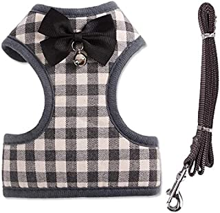 Small Dog Cat Vest Harness and Leash Set Classic Lattice Dog Harness with Bow Tie and Bell Dog Lead Leash Adjustable Vest ...